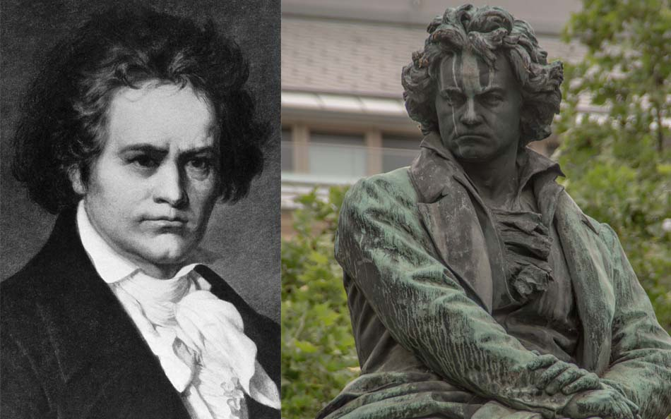 Beethoven portrait and statue