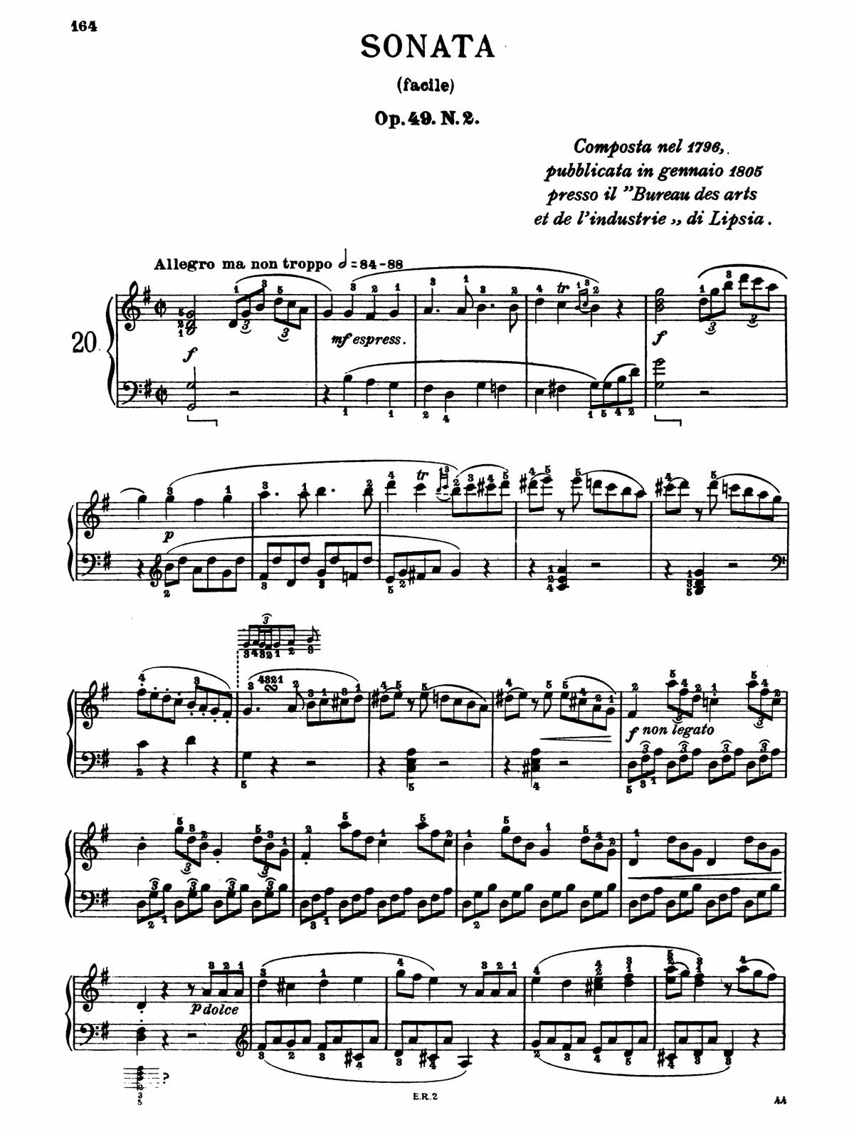 Beethoven Piano Sonata 20-1 sheet music