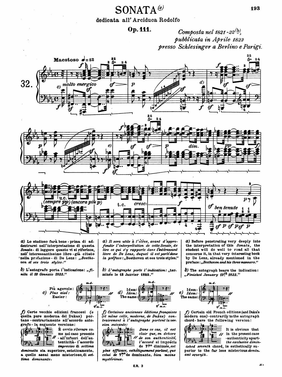 Beethoven Piano Sonata 32-1 sheet music